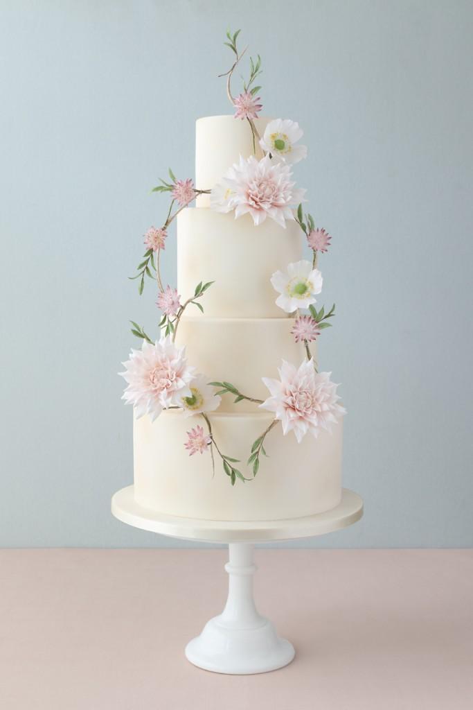 Sugar Dahlias, Sugar flowers wedding cake